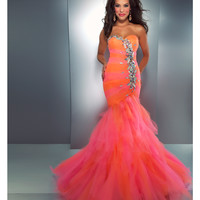Mac Duggal Prom 2013-Orange Candy Ruffle With Embellishments - Unique Vintage - Prom dresses, retro dresses, retro swimsuits.