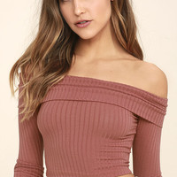 Praiseworthy Rusty Rose Off-the-Shoulder Crop Top