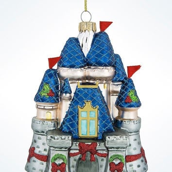 Disney Parks Glitter Blown Glass Castle Christmas Ornament New with Tags