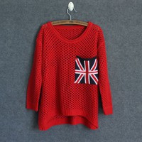 Red Cut Loose Flag Long Sleeved Pullover