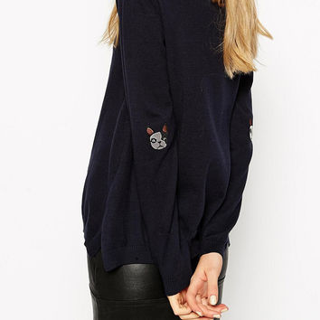 Navy Blue Dog Embroidered Long Sleeve Knitted Sweater