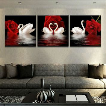 3 Panel White Swans Red Roses Flowers Wall Art Canvas Panel Picture