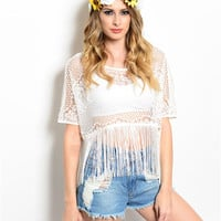 Amal Crochet Fringe Top- White