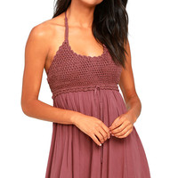 O'Neill Alexis Mauve Purple Crochet Halter Dress