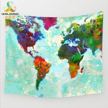 Boho Mandala Wall Hanging Tapestry World Map Printed Bohemian Throw Blanket Home Bedspread Art Decor Towel 150x130cm 203x153cm