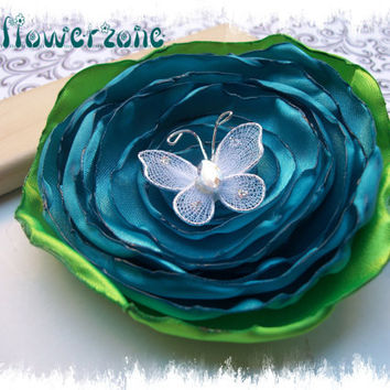 Satin Flower Singed Layered Turquoise Rose with by MyFlowerZone
