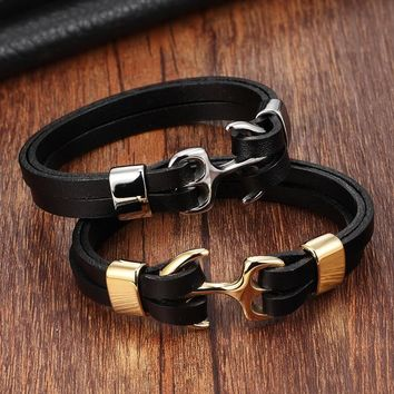 XQNI Genuine Leather Bracelet Stainless Steel Chain Bracelet Men&Ladies Gold/Silver Color Leather Bracelet for women Cuff Buckle