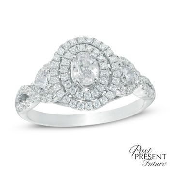 1 CT. T.W. Oval Diamond Double Frame Past Present Future® Twist Shank Engagement Ring in 14K White Gold