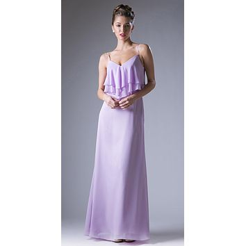 Lilac V-Neck Spaghetti Strap Long Bridesmaids Dress Ruffled Bodice
