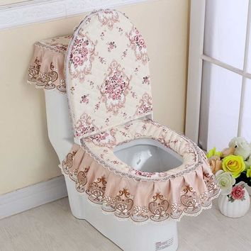 3 Pcs/Set Toilet Seat Cover Set Lace Floral Print Closestool Protector Toilet Cushion Pad Bathroom Decor E2S