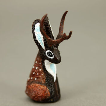 Deer Jackalope OOAK Bunny Rabbit Hare Animal Totem Sculpture Rabbit Hare figurine fantasy creature