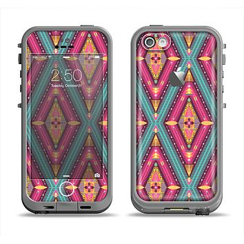 The Pink & Teal Abstract Mirrored Design Apple iPhone 5c LifeProof Fre Case Skin Set