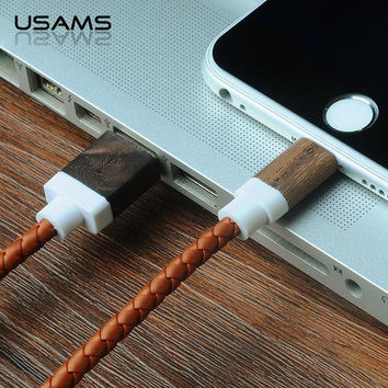 Wood and Leather Apple Lightning Cable