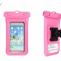 ELEGIANT IPX8 Waterproof 4.5 Inches-5 Inches Phone Case Bag Cover with Bicycle Holder Carabiner Armlet
