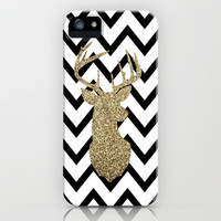 Glitter Deer Silhouette with Chevron iPhone & iPod Case by Dani