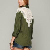 Free People Olive Cutwork Buttondown