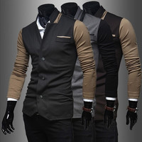 Trendy Men's Clothing Long Sleeve Colorant Match Personality Leisure Small Suit Coat. = 1705259844