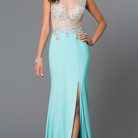 Floor Length Illusion Formal Gown G400