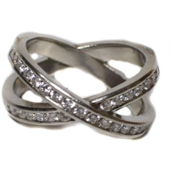 Alex & Company PLATINIUM DIAMOND CROSSOVER RING - DOUBLE BAND SILVER - SIZE 5.75 - 5 3/4
