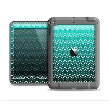 The Teal Gradient Layered Chevron Apple iPad Mini LifeProof Nuud Case Skin Set