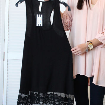 Lace Trim Layering Tunic {Black}