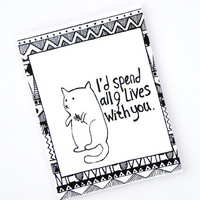 Cat Lover Card - I Love You - Anniversary Card