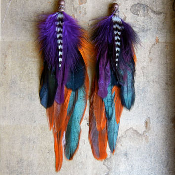 SALE 20 Percent OFF the ENTIRE shop - Pendleton Long Feather Earrings