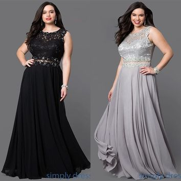 Women's Plus Size Long Illusion Waist Evening Bridal Prom Dress