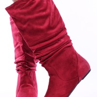 RED FAUX SUEDE SCRUNCHED SLOUCHY PULL UP KNEE HIGH FLAT BOOTS