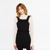 SHORT PINAFORE DRESS WITH TASSELS