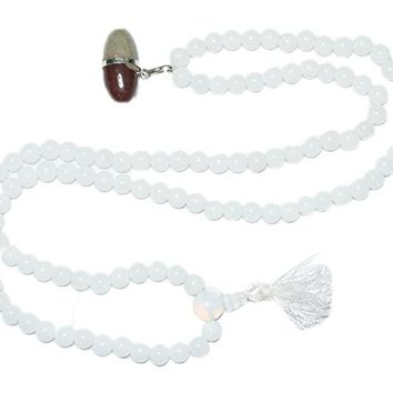 Shiva Lingam Moonstone Mala beads Chakra Necklace Spiritual Japamala Yoga Jewelry