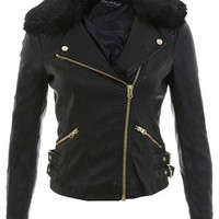 Fur Collar Faux Leather Jacket - The Collective - Apparel