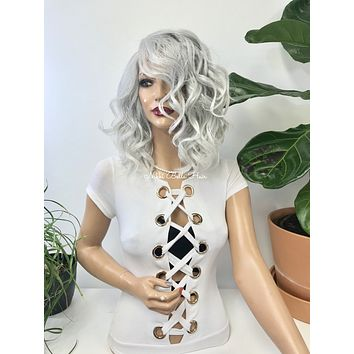 Silver gray lace front wig - Suttle 218 15*****