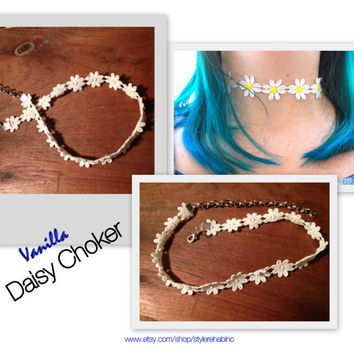 Vanilla Daisy Choker.  Cream color flowers around your neck.  Must have accessory.  Popular teen trend. Grunge, celebs, runway, fashion.