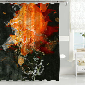 Abstract art shower curtain, black and orange shower curtain, Flame