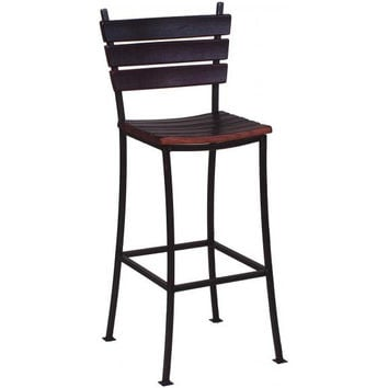 "24"" Wine Stave Stool w/ Back (Made from Wine Barrels)"