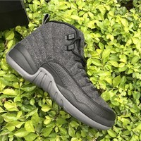 Air Jordan 12 Retro Wool Dark Grey/Metallic Silver-Black AJ12 Sneakers - Best Deal Online