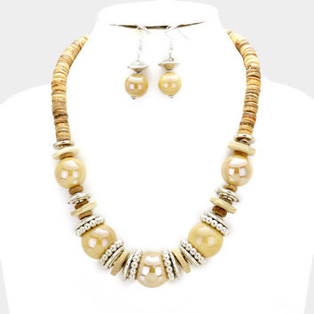 Chunky Brown & Silver Bead wood disc cluster bib necklace and earring set