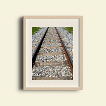 Train Tracks Photography - FREE SHIPPING to USA train photo railroad railway fine art photos gravel wanderlust travel nostalgia