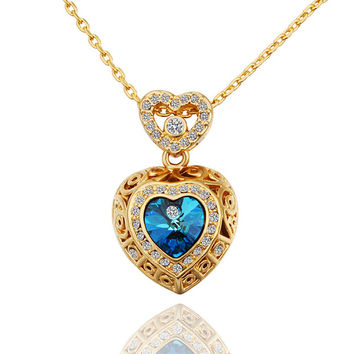Swarovski Crystal Heart Gold Plated Necklace