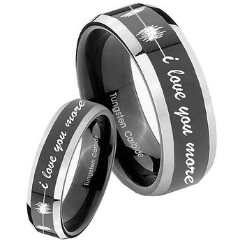 His Hers Shiny Black Bevel Sound Wave i love you more more 2 Tone Tungsten Wedding Rings Set