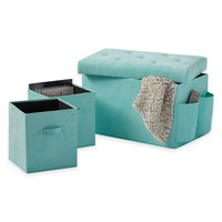 24-Inch Folding Storage Ottoman with Two Folding Storage Cubes