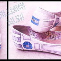 R2D2 STAR WARS - Toms Ballet Flats - New Shoes Included - Made to Order - Classic Toms or Ballet Flats
