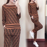 Fendi New fashion more letter print sports leisure long sleeve top and pants two piece suit Brown