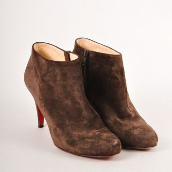 HCXX Brown Suede Leather High Heel Ankle Booties