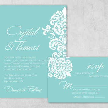 DIY Printable Tiffany Blue Wedding Invitation - Damask Wedding Invitation Extra Heavy Card stock