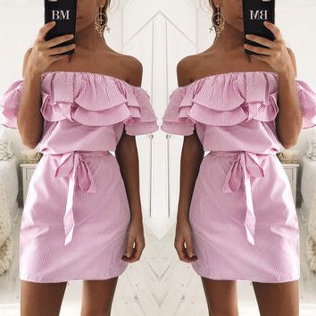 Pink Flounced Off Shoulder Dress