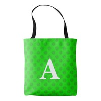 Customizable Green Monogram Tote Bag