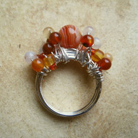 Bubbly Cocktail Ring Peach Opal and Red Semi by PiggleAndPop