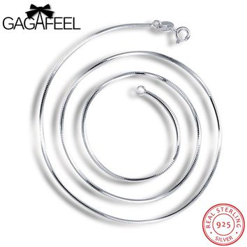 GAGAFEEL 100% 925 Real Sterling Silver Women Men Jewelry Unisex 1MM Snake Chain Necklaces for Pendant Parents Lover Gifts UN009